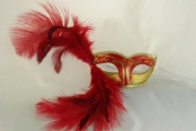 NEW Laser Cut Rose Red Coloured Swan Feather Masquerade Halloween Ballroom Mask - Elegantly Detailed and Decorated w/ Gold Lining