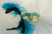 NEW Laser Cut Teal Coloured Swan Feather Masquerade Halloween Ballroom Mask - Elegantly Detailed and Decorated w/ Gold Lining
