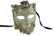 NEW Laser Cut Venetian Style Halloween Masquerade Mask for Costumes - Elegantly and Finely Detailed Gladiator Face Mask Design- Silver Lining