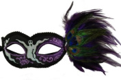 NEW Shaman Inspired Laser Cut Style Halloween Masquerade Side Feathers Half Mask