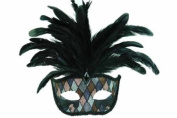 NEW Venetian Elegant Swan w/ Peacock Feathers Design Laser Cut Masquerade Mask for Mardi Gras Events or Halloween - Chequered Pattern