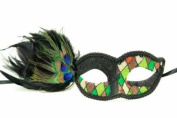 Peacock Inspired Venetian Inspired Laser Cut Masquerade Mask, Elegantly Crafted- Green Chequered Pattern
