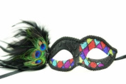 Peacock Inspired Venetian Inspired Laser Cut Masquerade Mask, Elegantly Crafted- Red Chequered Pattern