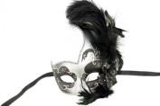 Phantom Female Inspired Venetian Inspired Laser Cut Masquerade Mask, Elegantly Crafted- Black Silver w/ Feathers