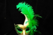 Phantom Female Inspired Venetian Inspired Laser Cut Masquerade Mask, Elegantly Crafted- Green w/ Feathers
