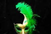 Phantom Female Inspired Venetian Inspired Laser Cut Masquerade Mask, Elegantly Crafted- Green w/ Feathers