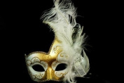 Phantom Female Inspired Venetian Inspired Laser Cut Masquerade Mask, Elegantly Crafted- White Gold w/ Feathers
