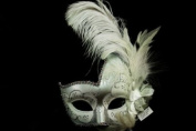 Phantom Female Inspired Venetian Inspired Laser Cut Masquerade Mask, Elegantly Crafted- White Silver w/ Feathers