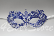 Rich Blue with Extravagant Diamonds Laser Cut Venetian Masquerad Mask