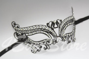 Romantic Black Metal Laser Cut Venetian Mardi Gras Masquerade Mask with Diamonds