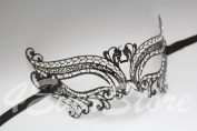 Romantic Black Metal Laser Cut Venetian Mardi Gras Masquerade Mask with Diamonds