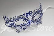 Romantic Blue Metal Laser Cut Venetian Mardi Gras Masquerade Mask with Diamonds