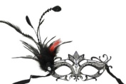 Royal Classic Venetian Design Swan Style Laser Cut Masquerade Mask - Elegantly Detailed and Decorated with Side Black and Red Feathers