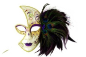 Tribal Classic Venetian Design Laser Cut Masquerade Mask, Attached w/ Vibrant Purple and Green Peacock Feathers