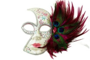 Tribal Decorated Classic Venetian Design Laser Cut Masquerade Mask, Attached w/ Vibrant Hot Pink And Green Peacock Feathers