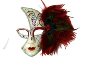 Tribal Decorated Classic Venetian Design Laser Cut Masquerade Mask, Attached w/ Vibrant Red and Green Peacock Feathers