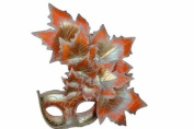 Venetian Autumn Seasonal Leaf Design Laser Cut Masquerade Mask for Mardi Gras Events or Halloween - w/ Vibrantly Decorated Side Silvery and Red Leaves