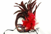Venetian Inspired Laser Cut Masquerade Mask- Bright Red Swan w/ Extravagant Feathers
