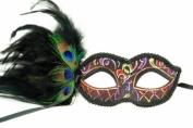 Venetian Inspired Laser Cut Masquerade Mask- Burgandy Swan w/ Extravagant Peacock Feathers