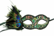 Venetian Inspired Laser Cut Masquerade Mask- Leafy Green Swan w/ Extravagant Peacock Feathers