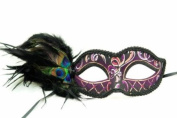 Venetian Inspired Laser Cut Masquerade Mask- Purple Swan w/ Extravagant Peacock Feathers