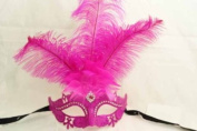 Venetian Royal Swan Princess Mask Design Laser Cut Masquerade Mask for Mardi Gras Events or Halloween - Hot Pink w/ Feathers