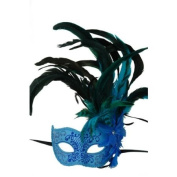 Vintage Venetian Style Laser Cut Masquerade Mask for Mardi Gras or Halloween - Sky Blue Mask Attached with Oustanding Flowers and Feathers