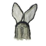 Gaga Halloween Costume Sexy Veil Dress Lace Up Black BUNNY Mask Party Head Hoop