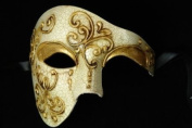 Gold White Venetian Half Mask Masquerade Mardi Gras 'Phantom of the Opera' Design