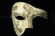 Silver White Venetian Half Mask Masquerade Mardi Gras 'Phantom of the Opera' Design