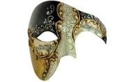 Gold Lining Musical Black Venetian Half Masquerade Mask Phantom Design