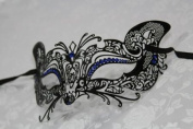 Gorgeous Feline Inspired Black Venetian Mardi Gras Masquerade Mask with Blue Diamond