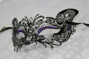 Gorgeous Feline Inspired Black Venetian Mardi Gras Masquerade Mask with Diamond