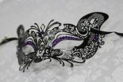 Gorgeous Feline Inspired Black Venetian Mardi Gras Masquerade Mask with Diamond