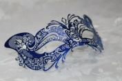 Gorgeous Feline Inspired Blue Venetian Mardi Gras Masquerade Mask with Diamond