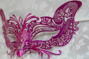 Gorgeous Feline Inspired Pink Venetian Mardi Gras Masquerade Mask with Diamond