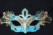 Blue Dream Angel Venetian Masquerade Carnival Metal Laser Cut Mask