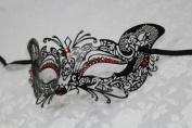 Gorgeous Feline Inspired Black Venetian Mardi Gras Masquerade Mask with Red Diamond