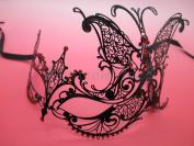 Laser Cut Venetian Halloween Masquerade Mask Costume Extravagant Inspire Design - Black w/ RED Rhinestones