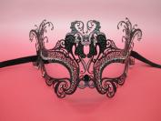 Loving Bird Laser Cut Venetian Halloween Masquerade Mask Costume Inspire Design - Black w/ White Rhinestones