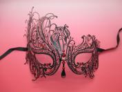 NEW Laser Cut Venetian Halloween Masquerade Mask Costume Black Swam Inspire Design - Black w/ RED Rhinestones