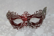 Royal Princess Red Laser Cut Metal Venetian Masquerade Mask with Diamonds