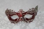 Royal Princess Red Laser Cut Metal Venetian Masquerade Mask with Diamonds
