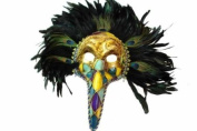 Classic Vintage Mediaeval Plague Doctor Mask Design Laser Cut Masquerade Mask for Mardi Gras Events or Halloween - Gold w/ Brilliant Peacock Feathers