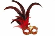 Classic Vintage Venetian Grand Swan Mask Design Laser Cut Masquerade Mask for Mardi Gras Events or Halloween - Red w/ Brilliant Red Feathers