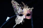 NEW Classic Venetian Elegant Swan w/ Grand Butterfly Design Laser Cut Masquerade Ballroom Mask for Mardi Gras or Halloween - Gold/Purple