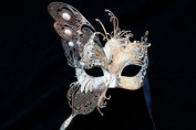 NEW Classic Venetian Elegant Swan w/ Grand Butterfly Design Laser Cut Masquerade Ballroom Mask for Mardi Gras or Halloween - Gold/White