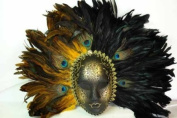 New Classic Vintage Ancient Temple Ruin Priestess Mask w/ Feathers Design Laser Cut Masquerade Mask for Mardi Gras Events or Halloween - Gold w/ Brilliant Peacock Feathers