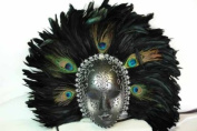 New Classic Vintage Ancient Temple Ruin Priestess Mask w/ Feathers Design Laser Cut Masquerade Mask for Mardi Gras Events or Halloween - Silver w/ Peacock Feathers