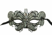 Vintage Venetian Black Mystery Inspired Design Laser Cut Masquerade Mask - Finely Decorated and Intricately Detailed
